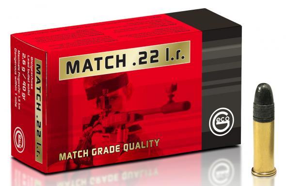 GECO  22 Long Rifle Match Ammunition 50 Rounds 40 Grain Lead Round Nose