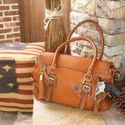 b14325290c4 Concealed Carrie Aged Brown Leather Satchel
