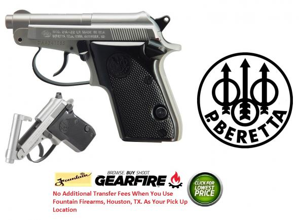 Beretta 21 Tip-Up Barrel Bobcat .22 Long Rifle 2.4 Inch Barrel Stainless Steel Finish Plastic Grips 7 Round
