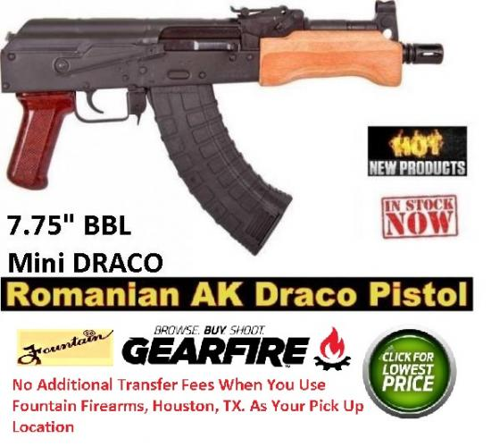 "Boiling Hot!!! Century Mini Draco 7.62x39 7.75"" Barrel 30 Round Steel Semi Automatic Pistol 💲💲Cash 689.95💲💲"