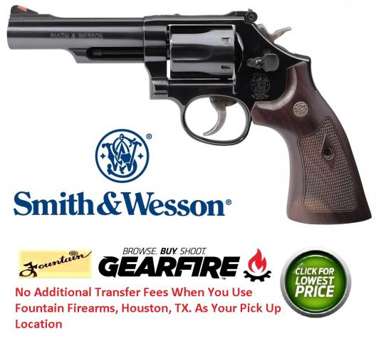 "New 2019!!! Smith & Wesson, 19, Revolver, 357 Mag, 38 Special, 4.25"" Barrel, Carbon Steel Frame, Blue Finish, Wood Grips, 6Rd, Red Ramp Front Sight, Adjustable Rear Sight"