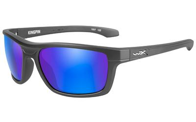 a5ca5c0c260f Wiley X, Kingpin, Sunglasses, Black Matte Frame, Polarized Blue Mirror Lens