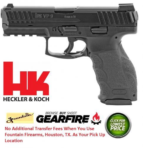 """Heckler & Koch, 700009LEA5 VP9 Double 9mm 4.09"""" 15+1 Black Interchangeable Backstrap Grip Black"""