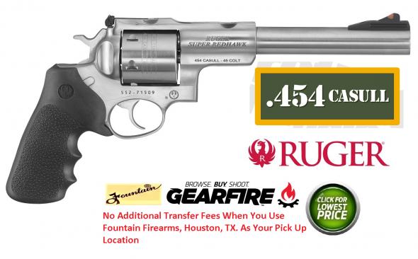"Ruger Super Redhawk Standard 454 Casull 7.5"" 6rd Blk Hogue Tamer Grip SSS"
