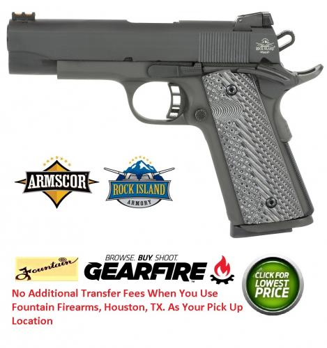 "Armscor, Rock Island 1911, 45 ACP, 4.2"" Barrel, Steel Frame, Parkerized Finish, G10 Grips, Adjustable Sights, Ambidextrous, 8Rd, 1 Magazine, Fired Case"