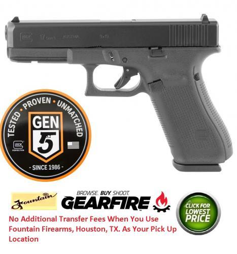 Glock Gen5 Glock 17 9mm 4 49 Inch Barrel Black Armor Coating Fixed Sights  Rough Textured Frame 5 5 Pound Trigger 17 Round