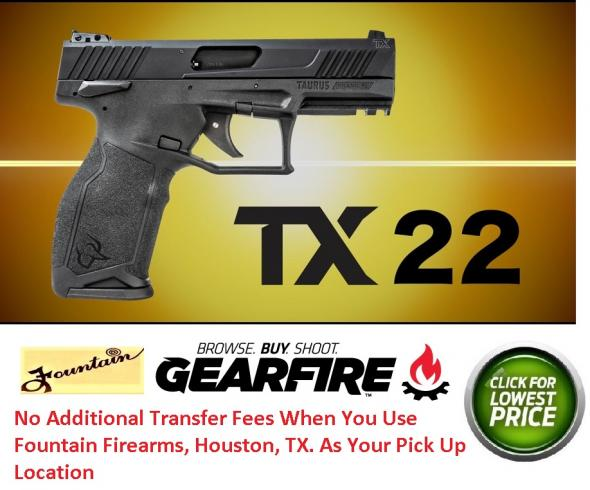 "New 2019!!! Taurus, TX22 Semi-automatic Pistol, 22 LR, 4"" Barrel, Black Polymer Frame, Adjustable Sights, 16Rd, 2 Magazines"