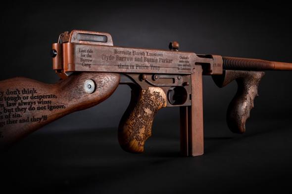 "Auto-Ordnance Thompson 1927A-1 Bonnie & Clyde Semi Auto Carbine .45 ACP 16.5"" Finned Barrel 20 Rounds Engraved Walnut Furniture Custom Rust Cerakote Finish"