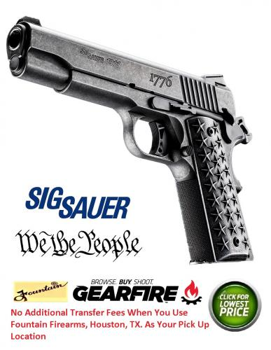 "Super Ca$h Price!!! Sig 1911 ""We The People"" 45ACP,  5 BBL"", Distressed Finish & Grips, Night Sights, 7Rd Limited Exclusive Edition 2019"