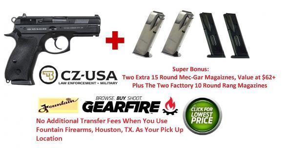 $62 Bonus + CZ 75 P-01 (Post-PCR) Compact With De-cocker 9mm Luger 3.7 Inch Barrel Black Polycoat Finish 10 Round