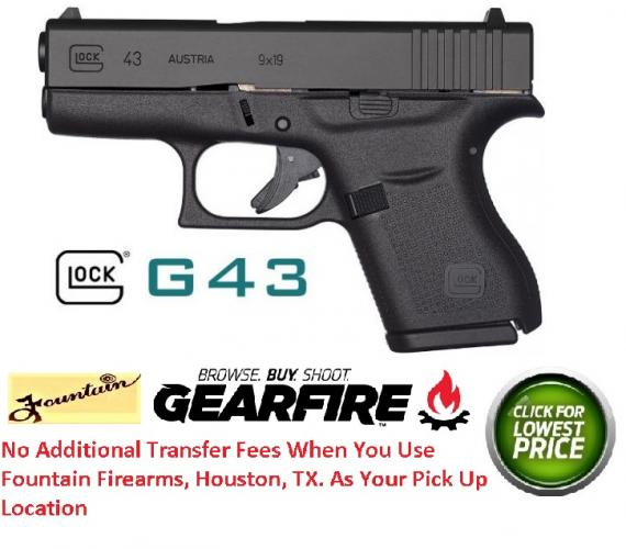 "Glock43 9mm Single Stack 3.39 Inch Barrel Fixed Sights Black 6 Round ""MADE IN THE USA"""