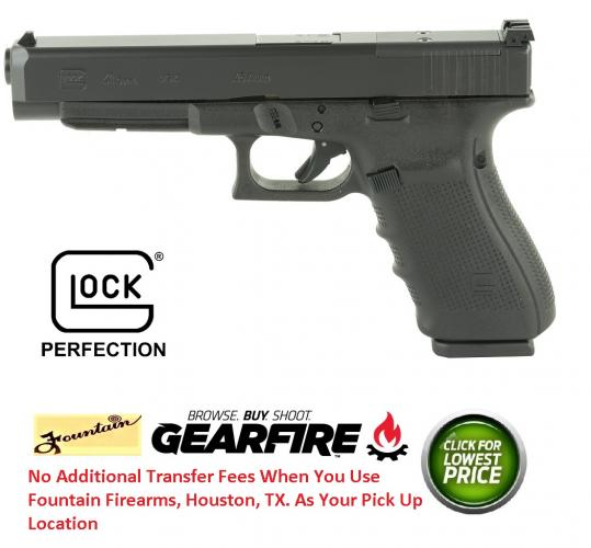 Glock 41 Gen4 MOS  45 ACP 5 3 Inch Barrel Black Finish Adjustable Sights 13  Round Made In USA