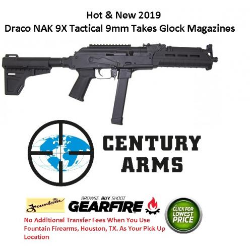 "Hot 2019!! Century Arms, Draco NAK 9X, Semi-Automatic Pistol, 9MM, 11.14"" Barrel, Shockwave Blade Brace, Magpul MOE Forend, 33Rd, 1 Mag"