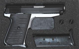Jimenez Compact Concealed Carry Reverse Two-Tone 380ACP /380 Auto Pistol  TWO 6-rd Magazines Matte Chrome w/Black Slide