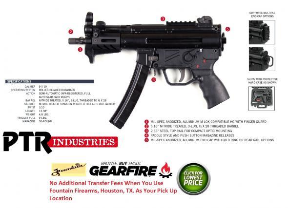 "PTR Industries, 9KT, Semi-automatic Pistol, 9MM, 5.83"" Threaded Barrel, Steel Frame, Black Finish, 30Rd, 2 Mags, 3 Lug Barrel, Aluminium M-LOK Handguard, Welded Scope Mount"