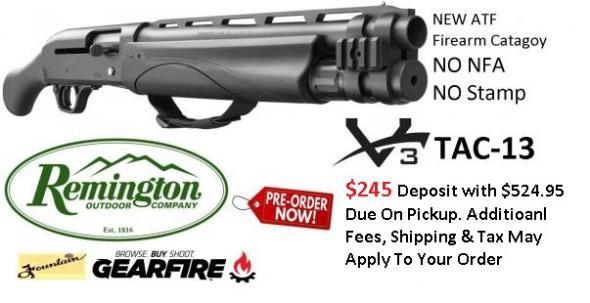 PO Deposit Only: Rem V3 Tac-13 Semi-automatic Firearm, 12 Gauge, 3