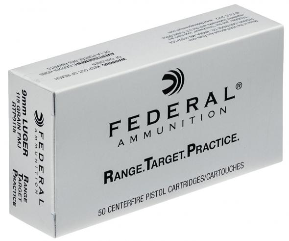 Federal RTP9115 Range and Target 9mm Luger 115 GR Full Metal Jacket 50  Rounds Per Box