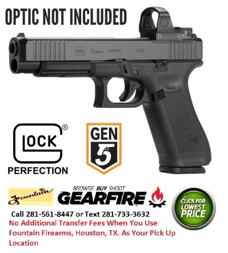 Hot 2019!!! Glock, G34 Gen5, Competition, Striker Fired, Modular Optic  System, Full Size, 9MM, 5 31