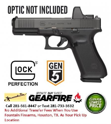 "Red Dot Ready!!! Glock, 17 Gen5 M.O.S. 9MM, 4.49"" Marksman Barrel, Polymer Frame, Matte Finish, Fixed Sights, 17Rd, 3 Magazines, Front Serrations, Ambidextrous Slide Stop Lever, Flared Mag Well, nDLC Finished Slide and Barrel, No Finger Grooves 💲💲Ca"