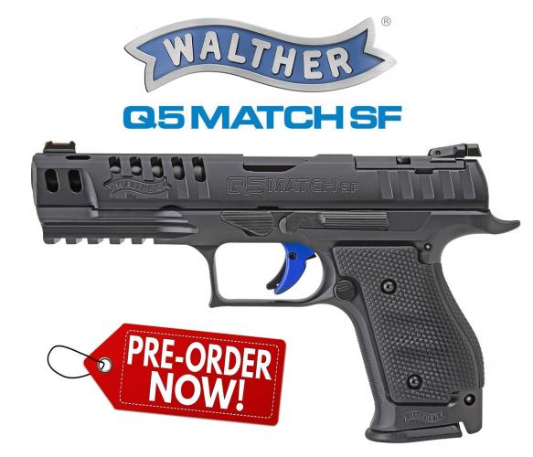 "PO DEPOSIT ONLY: Walther, PPQ Q5 Match Steel Frame, Full Size, 9mm, 5"" Barrel, Black Finish. Adjustable Rear Sight, Fiber Optic Front, 15Rd, 3 Magazines"