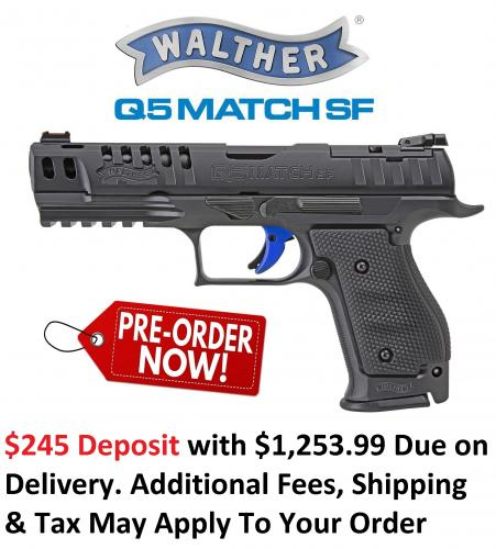 PO DEPOSIT ONLY: Walther, PPQ Q5 Match Steel Frame, Full Size, 9mm, 5