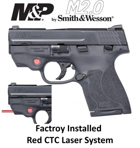 "Smith & Wesson, Shield M2.0 w CTC LASER, Semi-automatic Pistol, Striker Fired, Compact Frame, 9MM, 3.1"" Barrel, Polymer Frame, Black Finish, 2 Magazines (1-7Rd & 1-8Rd), Crimson Trace Laser, Thumb Safety, Fixed Sights"