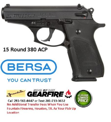 "Awesome!!! Bersa Thunder Plus 15 Round 380ACP, 3.5"" Barrel, Alloy Frame, Matte Black Finish, Polymer Grips, Fixed Sights, 15Rd, 1 Magazine"