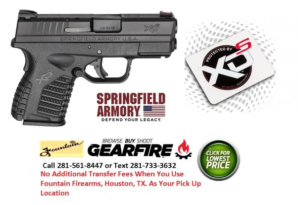 "Springfield Armory XDs Semi Auto Pistol 9mm Luger 3.3"" Barrel 7 Rounds Polymer Frame Black Slide Finish Essentials Package XDS9339BE"