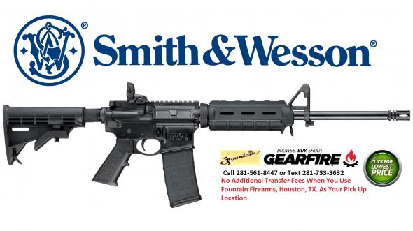 "Smith & Wesson, M&P 15, Sport II, Semi-automatic, AR, 5.56 NATO, 16"" Barrel, Black Finish, Black Collapsible Stock, 30Rd PMag, Flattop, Magpul Flip Up Rear, Magpul MOE M-Lok Carbine Length Handguard"