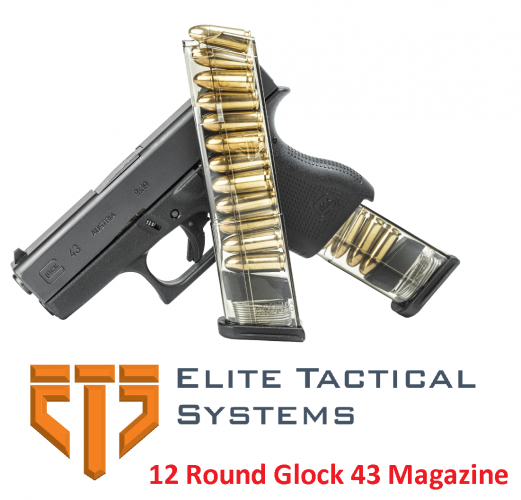 Super Hot 2019!!! Elite Tactical Systems Group, Mag, 9MM, 12Rd, Smoke, Fits Glock 43