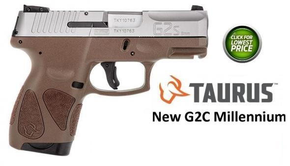 "Super Hot 2019!!! Taurus G2S 9mm (Slim G2 Millennium) Special Matt Brown Frame , 3.25"" Barrel, Polymer Frame, Stainless Finish, Fixed Front Sight With Adjustable Rear, 7 Round, 2 Magazines"