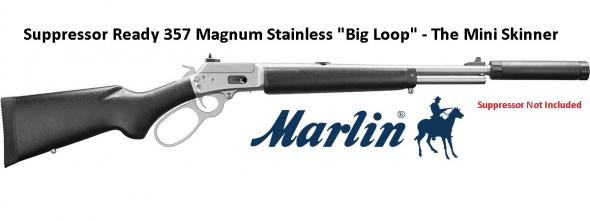 "Super Hot 2019!!! Marlin, 1894 SBL-CST (Suppressor Ready) 357 Mag, 16.5"" Stainless Steel Threaded Barrel, Black Painted Stock, BigLoop Lever, XS Sights, 6Rd"