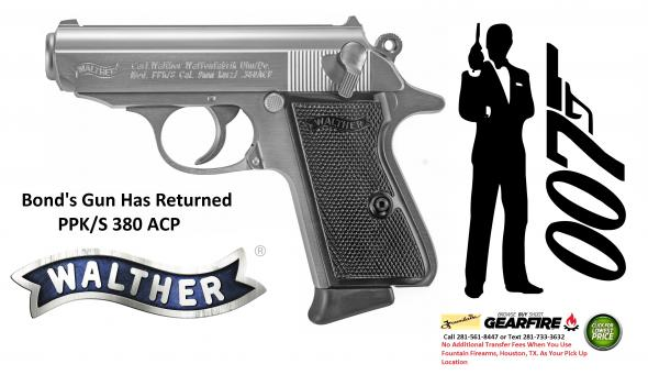 "Super Hot 2019!!! Walther, PPK/S, Semi-automatic Pistol, 380ACP, 3.35"" Barrel, Steel Frame, Stainless Finish, Fixed Sights, 7Rd, 2 Magazines"