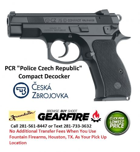 CZ 75D PCR (Pre P-01) Compact With De-cocker 9mm Luger 3.9 Inch Barrel Black Finish 14 Round 💲💲Cash $599.95💲💲