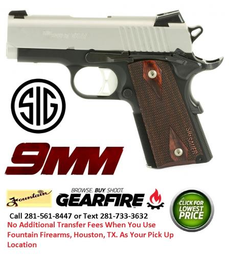 "Sig Sauer 1911, Ultra Compact, 9MM, 3.3"" Barrel, Aluminum Frame, Duo Tone Finish, Rosewood Grips, 8Rd, 2 Mags, Night Sights 1911UT-9-TSS"
