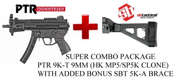 "SUPER HOT 2019!!! PTR 9KT (HK MP5/SP9K CLONE) PSTL w SBT BRACE 9MM 5.83"" TB MLOK 2-30RD BLK"