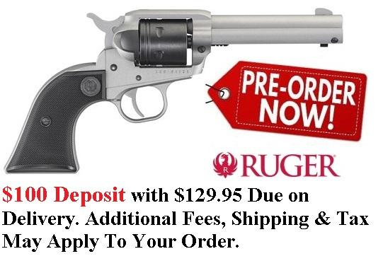 PO DEPOSIT ONLY: New 2019!!! Ruger Wrangler 22 LR Silver Cerakote