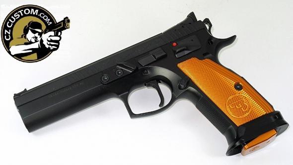 "MEGA Hot 2019!! CZ 75 Custom Orange TS (Tactical Sport)  9MM, 5.4"" Barrel, 20 Rounds - Super Hard To Find"