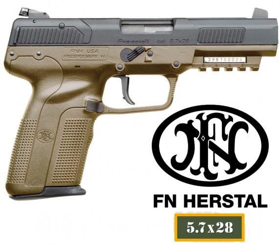 "FN America Five-seveN® USG 5.7mmX28mm 4.75"" Barrel 10+1 Rounds, w/Rail FDE Poly Grip FDE/Blk"