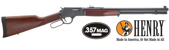Henry Big Boy Steel .357 Magnum/.38 Special 20 Inch Round Barrel Matte Finish Adjustable Sights Checkered American Walnut Stock 10 Round Capacity