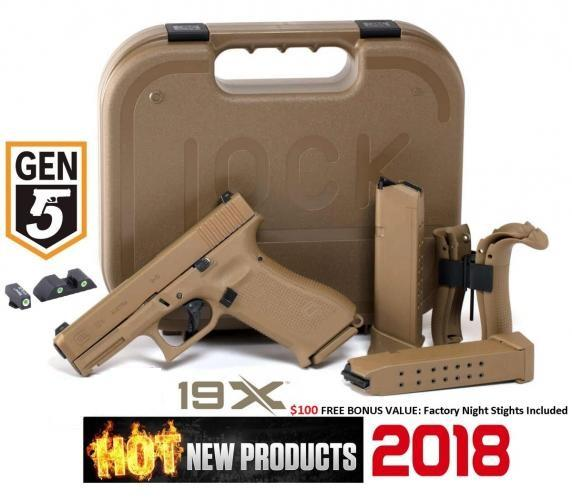 "Super Hot 2019!!! Glock, 19X, Safe Action, Compact Size Pistol, 9MM, 4.01"" Marksman Barrel, Coyote Polymer Frame, Coyote Slide, Coyote Magazines, Coyote Box, 2-19Rd 💲💲Cash $589.95💲💲"