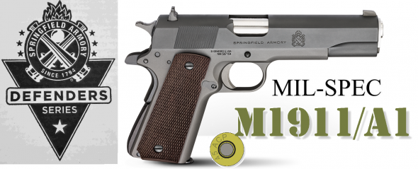 "Super Hot 2019!!! Springfield, Mil-Spec, 1911, Full Size, 45 ACP, 5"" Match Grade Barrel, Steel Frame, Parkerized Finish, Wood Grips, 3-Dot Combat Sights, 7Rd, 1 Magazine, Cardboard Box"