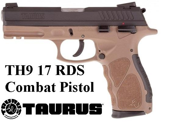 "Taurus, TH9, Semi-Automatic, Full Size, 9MM, 4.25"" Barrel, Polymer Frame, Black/Brown Finish, 17+1 Round, 2 Magazines"