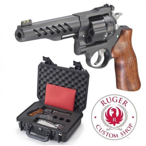 "Super Hot 2019!! Custom Shop Ruger Super GP100 357 Magnum, 5.5"" Cold Hammer Forged Barrel, Stainless Steel Frame, Black PVD Coated Finish, Hogue Hardwood Grip, 8 Round, 3 Moon Clips, Weighs 47oz, Fiber Optic Site"