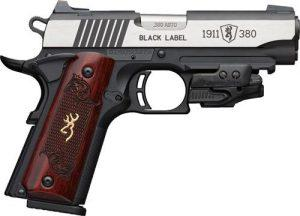 Browning 1911-380 Black Label Medallion  380 ACP Semi-Auto Pistol, 4 25″  Barrel, Laser, Wood Grips – Browning 051952492