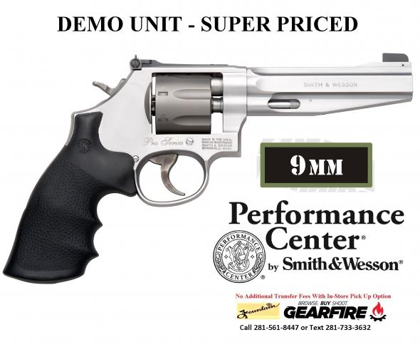 "Super Savings Demo Unit!!! Smith & Wesson 986 Performance Center 9MM Revolver , Double Action, Medium Revolver, 9MM, 5"" Barrel, Steel Frame, Stainless Finish, Rubber Grip, Adjustable Sights, 7Rd, Titanium Cylinder, Fired Case 178055"