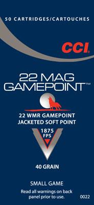 CCI 0022 22MAG 22 Magnum JSP Jacketed Soft Point Gamepoint 40 GR 50Box