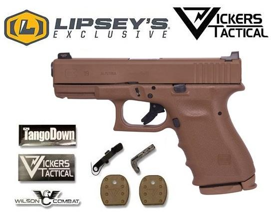 VICKERS Custom!!! GLOCK G19 G4 RFT2 All FLAT DARK EARTH 9MM - Limited Edition Lipsey's