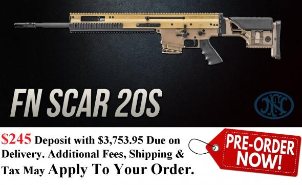 PO DEPOSIT ONLY: Hot 2020!!! FN SCAR 20S Sniper Rifle, 308 Win, 762NATO, 20' Barrel, Flat Dark Earth Finish, Precision Adjustable for LOP and Comb Height Synthetic Stock, Adjustable Cheek Piece, Hogue Rubber Grip with Fingers Grooves