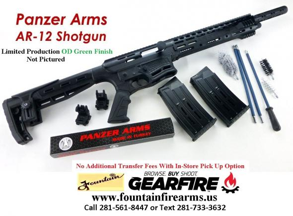Awesome!!! AR-12 Semi Auto, AR-15 Style 12ga Shotgun OD GREEN by Panzer Arms of Turkey, 3' Chambers 💲💲CASH $439.95💲💲